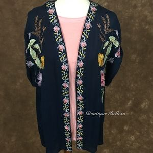 Navy Blue Floral Embroidered Kimono
